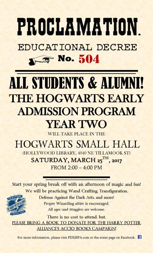 Hogwarts Early Admission Program Year Two Welcome To